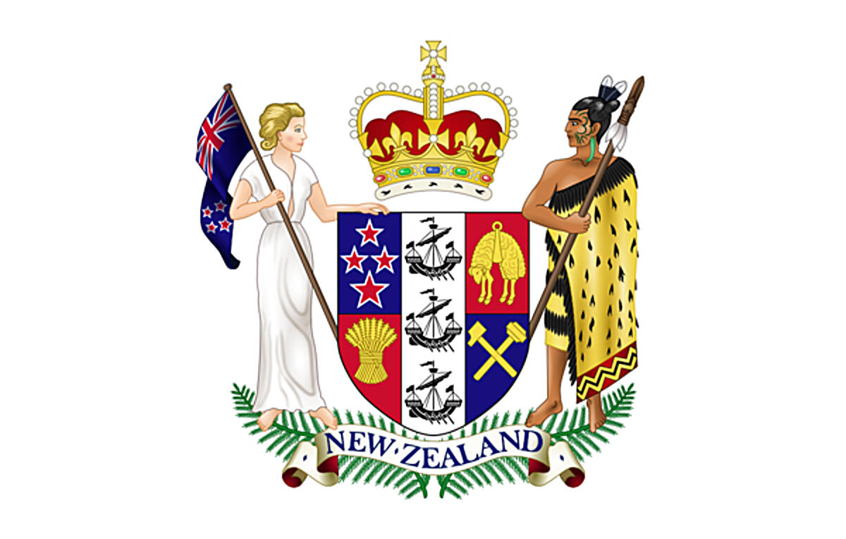 New Zealand coat of arms. Version with more white space added to the coat of arms created by Sodacan / CC BY-SA (https://creativecommons.org/licenses/by-sa/3.0)