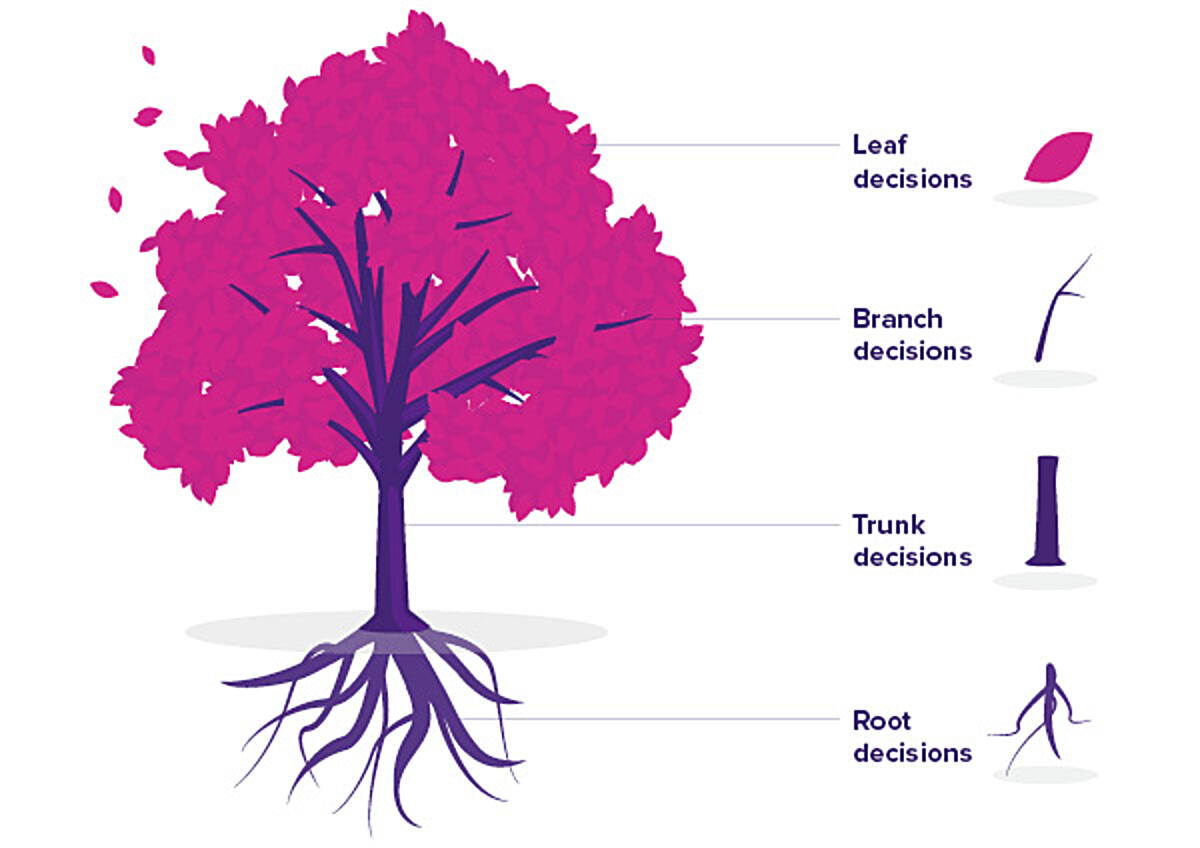 Diagram of the decision tree showing the four decision types: leaf, branch, trunk and root. Click to view full PDF with criteria and examples.