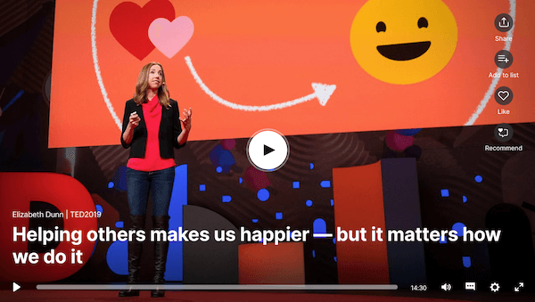 Still from Elizabeth Dunn's TED talk on how helping others makes us happy. Click to view.